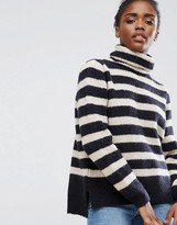 Pieces Hella Striped Rollneck Mohair Wool Blend Knit Jumper