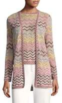 M Missoni Rainbow Chevron Open Front Cardigan