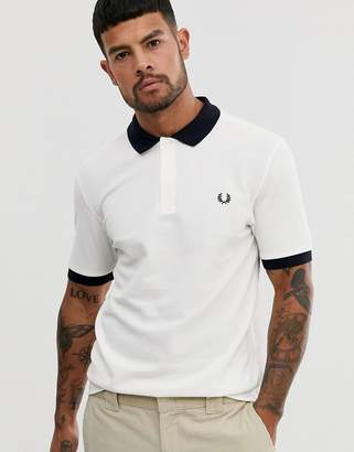 Fred Perry colour block pique polo in white