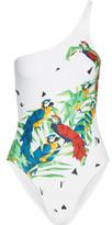 Norma Kamali Mio One-shoulder Printed Swimsuit - White