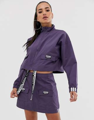adidas RYV patch pocket cropped jacket in purple