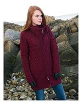 100% Irish Merino Wool Double Collar Aran Knit Coat by West End Knitwear