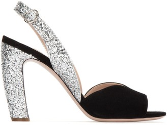 Miu Miu Glitter Detailed Slingback Strap Sandals