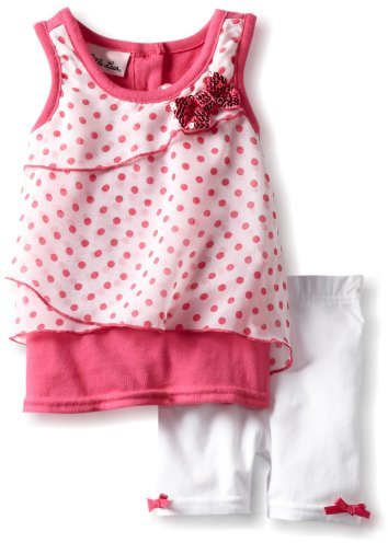 Little Lass Baby-Girls Infant 2 Piece Bike Short Set With Bow Detail