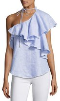 Karina Grimaldi Florinda One-Shoulder Ruffle Linen Top, Multi
