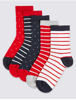 Marks and Spencer 5 Pairs of Spotted & Striped Socks (1-14 Years)
