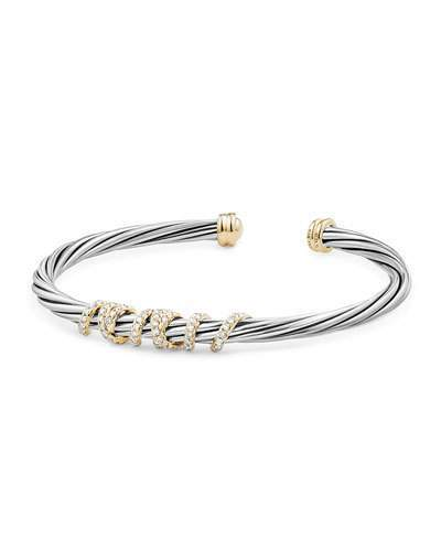 David Yurman 4mm Helena Cuff Bracelet with Diamond Wrap