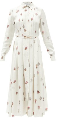 Gabriela Hearst Claudia Floral-print Silk-twill Midi Shirt Dress - White Multi