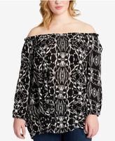 Jessica Simpson Trendy Plus Size Printed Off-The-Shoulder Tunic