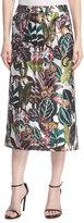 Oscar de la Renta Jungle Jacquard Midi Skirt