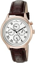 Lucien Piccard Men's 'Besana' Quartz Stainless Steel and Brown Leather Casual Watch (Model: LP-10333-RG-02-BA-BRW)