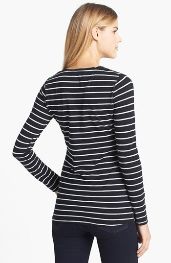 Vince Camuto Two by Stripe V-Neck Cotton Tee