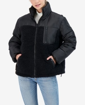 Sebby Junior's Mix Media Reversible Puffer Coat