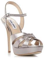 Steve Madden Ladies KAIDEN SM Strappy High Heel Platform Sandal Silver 7