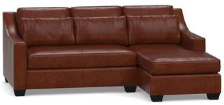 Pottery Barn York Slope Arm Deep Seat Leather Chaise Sofa Sectional