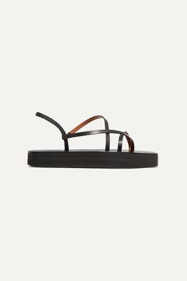ATP ATELIER Maremma Leather Platform Sandals - Black