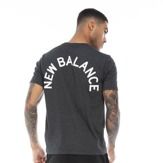 New Balance Mens Back Logo Graphic T-Shirt Heather Charcoal