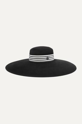 Maison Michel Bianca Striped Grosgrain-trimmed Rabbit-felt Hat - Black