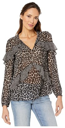 MICHAEL Michael Kors Cheetah Mix Flounce Top (Gunmetal) Women's Clothing
