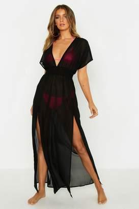 boohoo Split Leg Chiffon Beach Maxi Dress