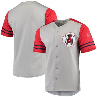 Stitches Los Angeles Angels Button-Up Jersey - Gray/Red