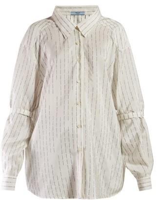 Prada Logo Jacquard Silk Shirt - Womens - Ivory Multi