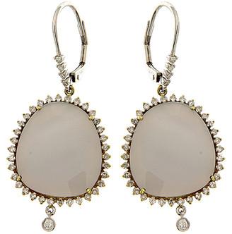 Meira T 14K & Silver 14.37 Ct. Tw. Diamond & Chalcedony Earrings
