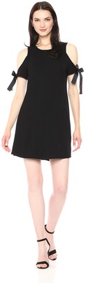 Kensie Women's Drapey French Terry Dress with Cold Should