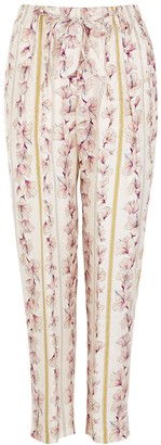 Forte Forte Floral-print satin-jacquard trousers