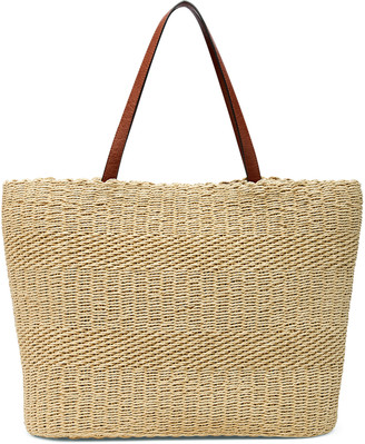 Sole Society Women's Keeni Tote Straw Cognac Combo Paper From