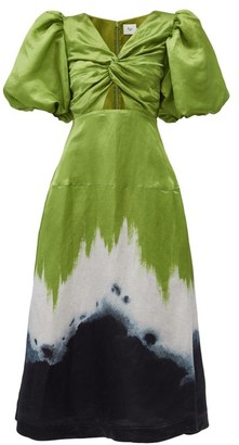 Aje Arcadian Hand-dyed Linen-blend Dress - Green Multi