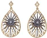 RJ Graziano Crystal-Accented 2-Tone Medallion Drop Earrings