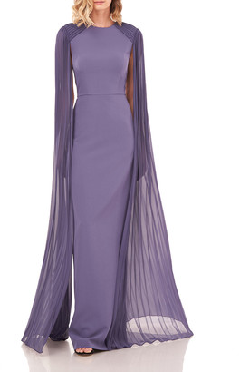 Kay Unger New York Alyssa Open Chiffon-Sleeve Stretch Crepe Gown