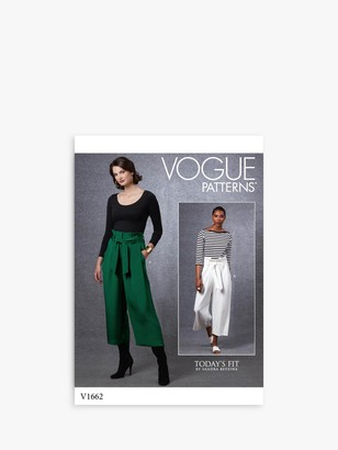 Vogue Women's Cropped Trousers Sewing Pattern, 1662
