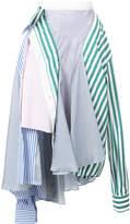 Sacai asymmetric poplin skirt