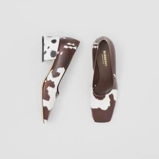 Burberry Animal Print Leather Block-heel Pumps