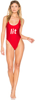 Private Party Lit One Piece Swimsuit in Red