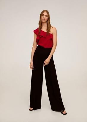 MANGO Asymmetric ruffled blouse maroon - XS - Women