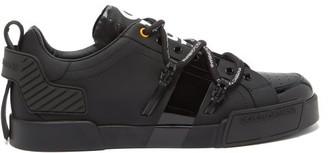 Dolce & Gabbana Logo-print Rubberised-leather Trainers - Black