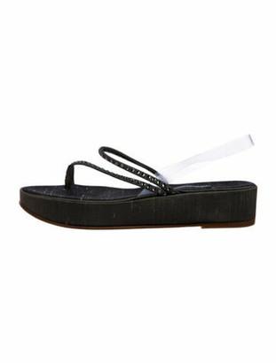 Giorgio Armani Canvas Wedge Sandals Olive