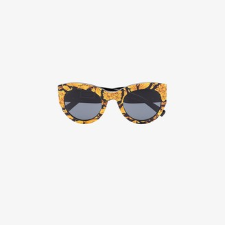 Versace Eyewear black and yellow Baroque print sunglasses
