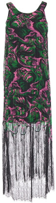 McQ Chantilly Lace-paneled Pleated Printed Georgette Maxi Dress