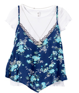 Beautees White & Blue Floral Layered Tank - Girls