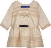 Hucklebones Bow trim organza long-sleeved dress 3-18 months