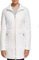 Via Spiga Crocodile Quilted Zip Front Coat