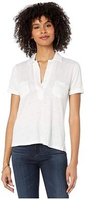 Majestic Filatures Linen/Elastane Short Sleeve Pullover Shirt (Blanc) Women's Clothing