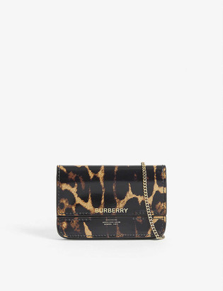 Burberry Jody leopard print leather card holder with chain