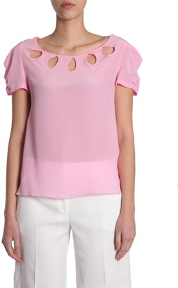 Boutique Moschino Crepe Cut Out Detail T-Shirt