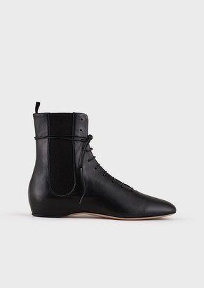 Giorgio Armani Nappa Leather Boots With Inner Wedge