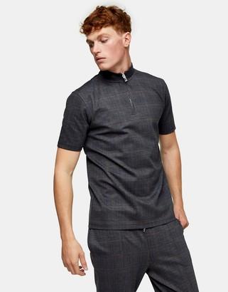 Topman plaid half zip polo in black